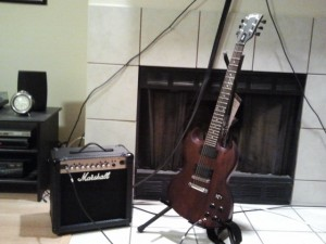 [Gibson SGJ and Marshall MGX15]